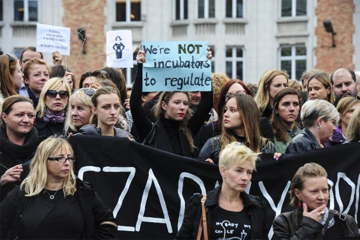 Protest against effort to criminalize abortion in Poland