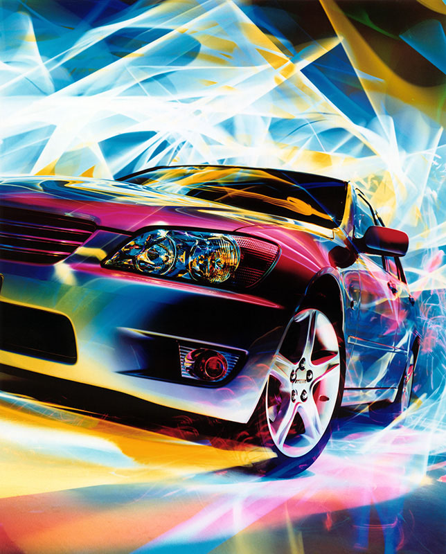 1st light painting photoshoot of Toyota Alyezza created in Japan.