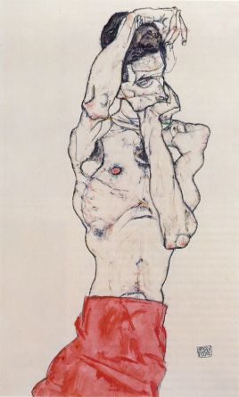 Schiele_Nude-Male-with-a-Red-Loincloth_1914